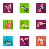 Musical instrument, garbage and ecology, electric applianc and other web icon in flat style. Megaphone, finishing. Musical instrument, garbage and ecology Royalty Free Stock Photography