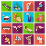 Musical instrument, garbage and ecology, electric applianc and other web icon in flat style. Megaphone, finishing. Musical instrument, garbage and ecology Royalty Free Stock Images