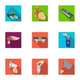 Musical related icon set. Musical instrument, garbage and ecology, electric appliance and other  icon in flat style. Megaphone, finishing checkered flag, gesture Royalty Free Stock Photos