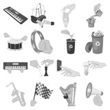 Musical instrument, garbage and ecology, electric applianc and other web icon in monochrome style. Megaphone, finishing. Musical instrument, garbage and ecology Royalty Free Stock Photos