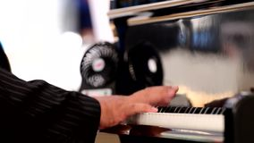 Musical instrument grand piano. Hands of Man playing piano. Musical instrument grand piano stock footage