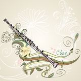 Musical instrument. Hand drawn oboe on a floral background Stock Photography