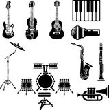 Musical Instrument Icon Set. A vector icon set of musical instrument simple outline silhouettes Royalty Free Stock Images