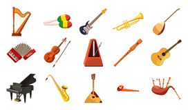 Musical instrument icon set, cartoon style. Musical instrument icon set. Cartoon set of musical instrument vector icons for web design isolated on white Stock Photo
