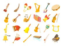 Musical instrument icon set, cartoon style. Musical instrument icon set. Cartoon set of musical instrument vector icons for web design isolated on white Stock Images