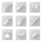 Musical instrument icons. Musical instrument music icons including ones for clarinet, sax, trumpet and many more Stock Images