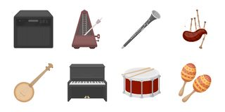 Musical instrument icons in set collection for design.   Stock Photos