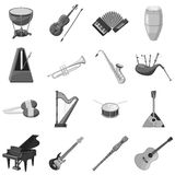 Musical instrument icons set gray monochrome style Royalty Free Stock Photo