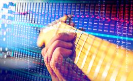 Musical instrument and music.recording of guitars Stock Photo