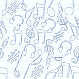 Musical instrument and notes with seamless pattern. Royalty Free Stock Photography