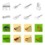 Musical instrument outline,flat icons in set collection for design. String and Wind instrument isometric vector symbol. Stock  illustration Royalty Free Stock Photography
