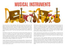 Musical instrument poster template, music design. Musical instrument poster template. Guitar, piano, saxophone, drum, trumpet, violin, harp, maracas vector Stock Photo