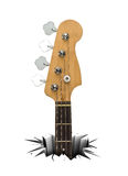 Musical instrument for rock music. The power of music. Musical instrument that breaks through a white floor. Electric bass stock illustration