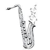 Musical instrument saxophone on white background. Vector illustration. Royalty Free Stock Images