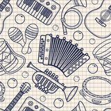 Musical instrument.. Seamless monochrome pattern. Vector ornament Royalty Free Stock Images
