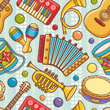 Musical instrument seamless pattern. Cartoon style Royalty Free Stock Photo
