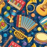 Musical instrument seamless pattern. Cartoon style Stock Photos