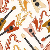 Musical instrument with seamless pattern. Stock Image