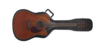 Musical instrument - Silhouette orange guitar hard case inside. Musical instrument - Silhouette orange cutaway guitar inside hard case on a white background Stock Images