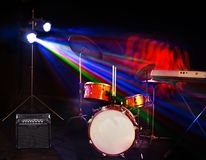 Musical instrument on stage. Concert stage stock photography