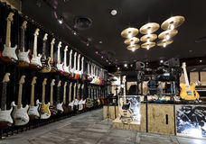 Musical instrument store. Horizontial shot of inside a musical instrument store Stock Images