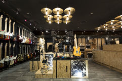 Musical instrument store. Horizontial shot of inside a musical instrument store Stock Photo