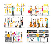 Musical instrument store. Interior set. Isolated illustrations on wite background Stock Photo