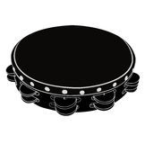 Musical instrument tambourine. Black - White Musical instrument tambourine on a white background. Vector illustration. Isolated object Stock Photography