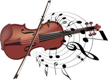 Musical instrument violin with note Stock Photos
