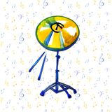Musical Instrument. Watercolor Golden Cymbal. Isolated on notes background royalty free illustration