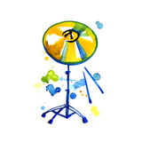 Musical Instrument. Watercolor Golden Cymbal. Isolated on a White Royalty Free Stock Photos