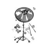 Musical Instrument. Watercolor Golden Cymbal. Isolated on a White Stock Photography