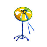 Musical Instrument. Watercolor Golden Cymbal. Isolated on a White Royalty Free Stock Image