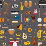 Musical instrumental seamless pattern background. Vector illustracion Stock Photography
