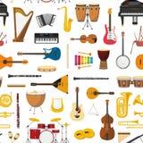 Musical instrumental seamless pattern background. Vector illustracion Stock Photos