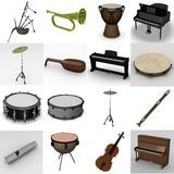 Musical instruments. 3d render of musical instruments Stock Images