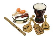 Musical instruments. Various musical instruments for enjoying and appreciating music - path included Royalty Free Stock Image