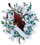 Musical instruments. At the background of flowers, intertwined ribbon Royalty Free Stock Images