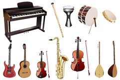 Musical instruments. And white background,  illustration Stock Photo