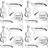 Musical Instruments. Pattern musical instruments for the design, background, and create textures vector illustration
