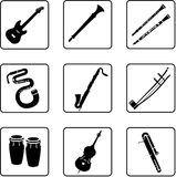 Musical Instruments 2. Musical instruments black and whitre silhouettes Stock Photography