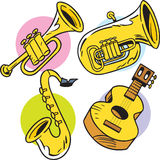 Musical Instruments. The illustration shows some string and wind musical instruments Stock Images