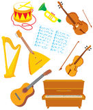 Musical instruments. Vector clip-arts of acoustic musical instruments, on a white background Stock Photos