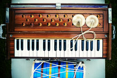 Musical instruments. Three ethnic musical instruments on earth Stock Image