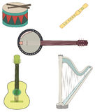 Musical instruments. A set of colorful musical instruments Royalty Free Stock Photography
