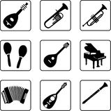 Musical Instruments 4. Musical instruments black and white silhouettes Royalty Free Stock Photos