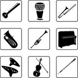 Musical Instruments 5. Musical instruments black and white silhouettes Stock Photos