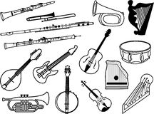 Musical instruments. Collection of musical instrument icons drawn in simple black line - clarinet, flute, oboe, drums, bugle, mandolin, guitar, cornet, harp Stock Image