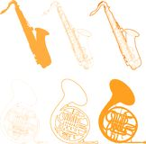 Musical instruments. Saxophone and french horn illustrations Stock Photography