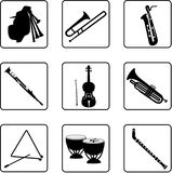 Musical Instruments 7. Musical instruments black and white silhouettes Stock Photography